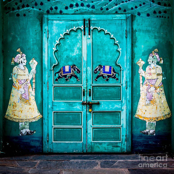 India Print featuring the photograph Behind The Green Door by Catherine Arnas
