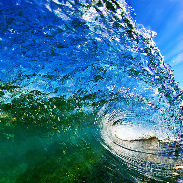 Ocean Print featuring the photograph Blue Tube by Paul Topp