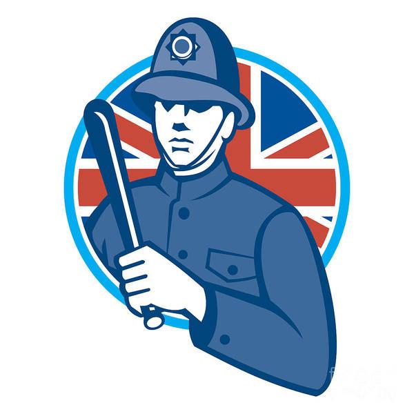 British Print featuring the digital art British Bobby Policeman Truncheon Flag by Aloysius Patrimonio