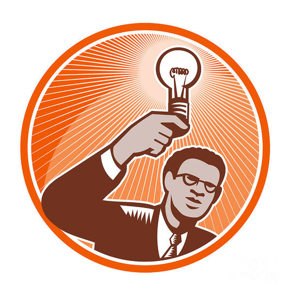 Businessman Print featuring the digital art Businessman Holding Lightbulb Woodcut by Aloysius Patrimonio