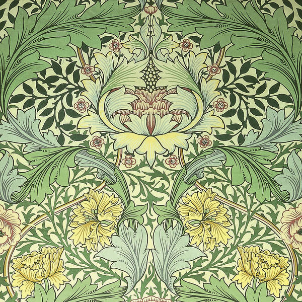 William Print featuring the tapestry - textile Carnations Design by William Morris