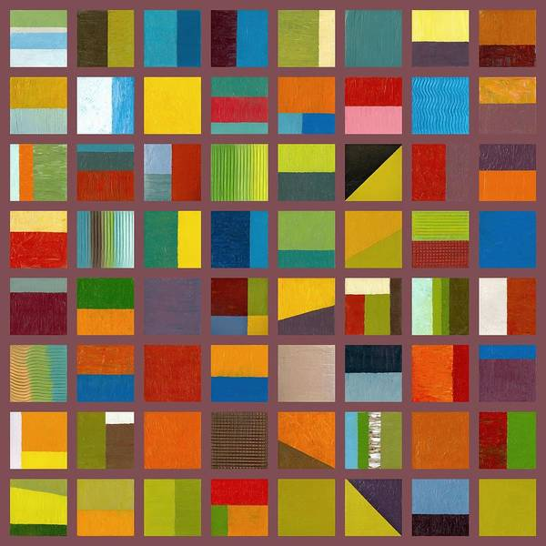 Abstract Print featuring the painting Color Study Collage 65 by Michelle Calkins