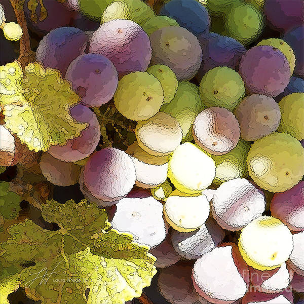 Grapes Print featuring the painting Della Vite by Artist and Photographer Laura Wrede