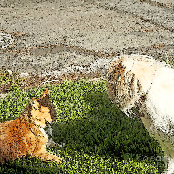 Dog And Cat Fight Print featuring the painting Dog And Cat Discuss by Artist and Photographer Laura Wrede