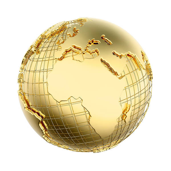 Earth Print featuring the photograph Earth In Gold Metal Isolated - Africa by Johan Swanepoel