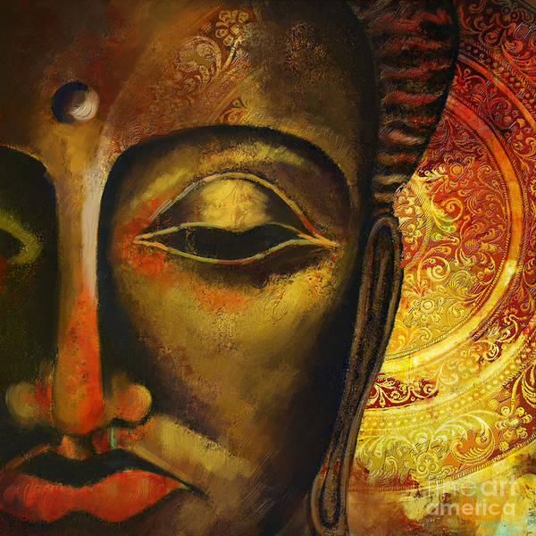 Face Of Buddha Print featuring the painting Face Of Buddha by Corporate Art Task Force