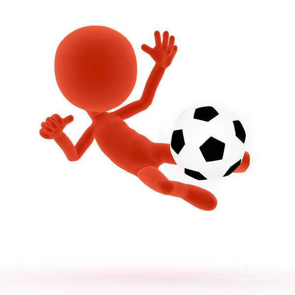 Football Print featuring the digital art Football Soccer Shooting Jumping Pose by Michal Bednarek