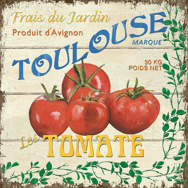 Tomatoes Print featuring the painting French Veggie Sign 3 by Debbie DeWitt