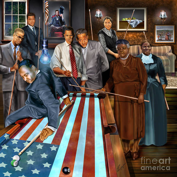 Harriet Tubman Print featuring the painting Game Changers And Table Runners P2 by Reggie Duffie