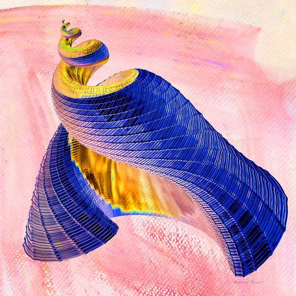 Geometric Shell Print featuring the digital art Geometric Shell Art by Deborah Benoit