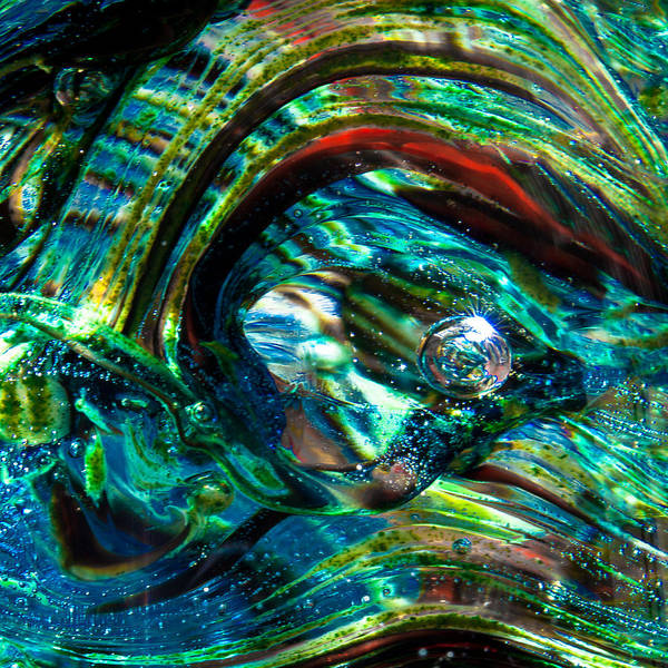 Glass Print featuring the photograph Glass Macro - Blue Green Swirls by David Patterson