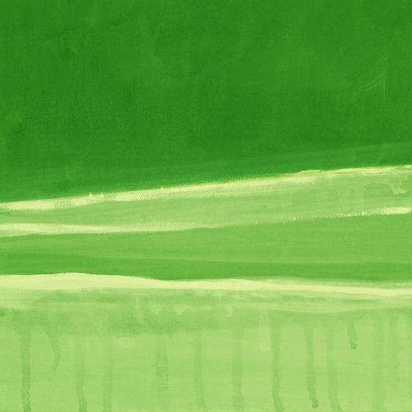 Abstract Painting Print featuring the painting Harmony In Green by Linda Woods