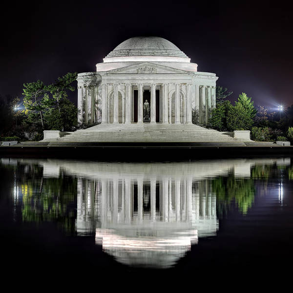 Water Print featuring the photograph Jefferson Memorial - Night Reflection by Metro DC Photography