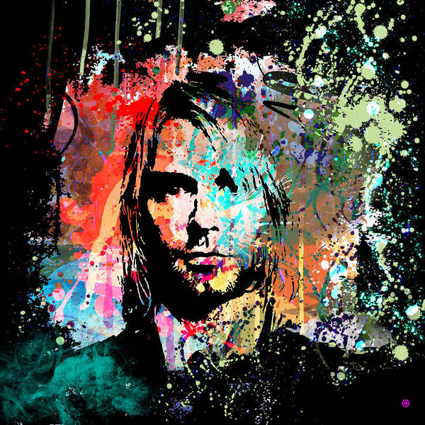 Gary Grayson Print featuring the painting Kurt Cobain Portrait by Gary Grayson