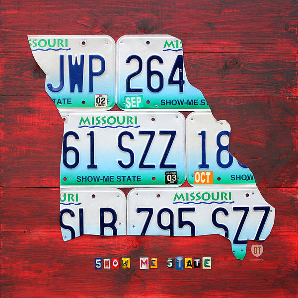 License Plate Map Print featuring the mixed media License Plate Map Of Missouri - Show Me State - By Design Turnpike by Design Turnpike