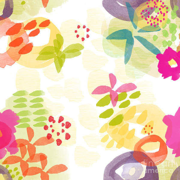 Flowers Print featuring the painting Little Watercolor Garden by Linda Woods