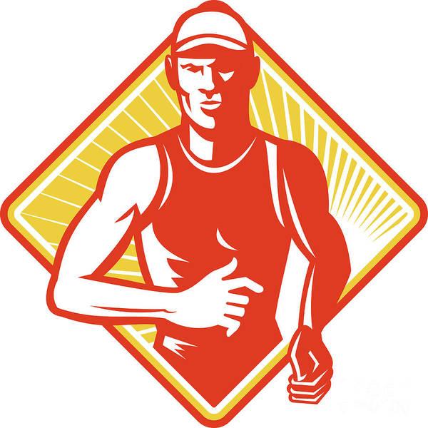 Marathon Print featuring the digital art Male Marathon Runner Running Retro Woodcut by Aloysius Patrimonio
