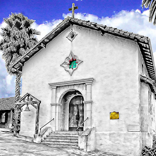 Mission San Rafael Print featuring the digital art Mission San Rafael Arcangel by Ken Evans