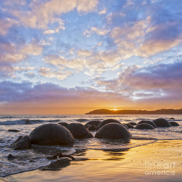 Beautiful Print featuring the photograph Moeraki Boulders Otago New Zealand Sunrise by Colin and Linda McKie