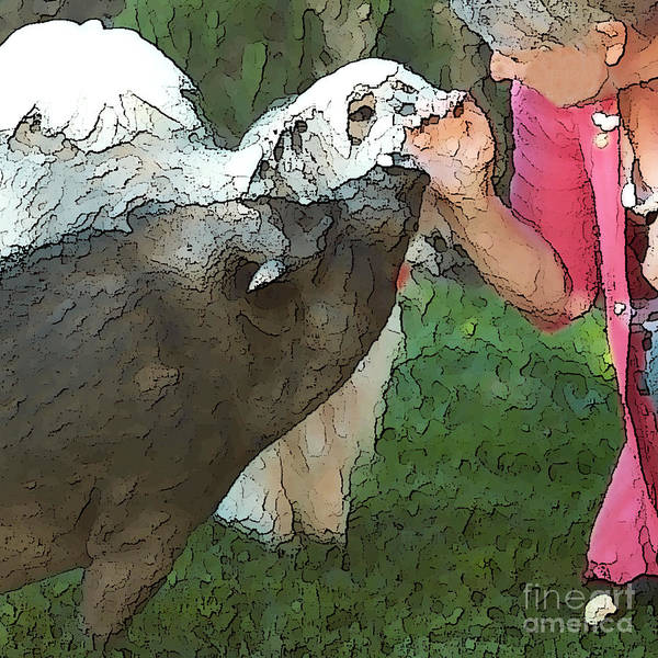 Pig Print featuring the digital art My Pig And Dog Friends by Artist and Photographer Laura Wrede