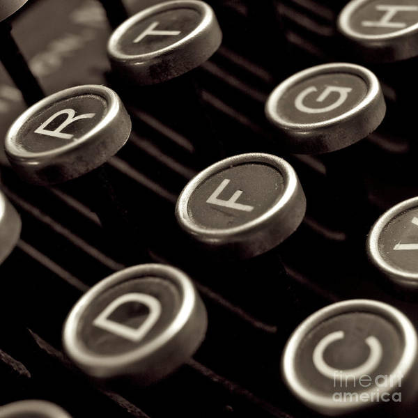 Studio Shot Print featuring the photograph Old Typewriter by Bernard Jaubert