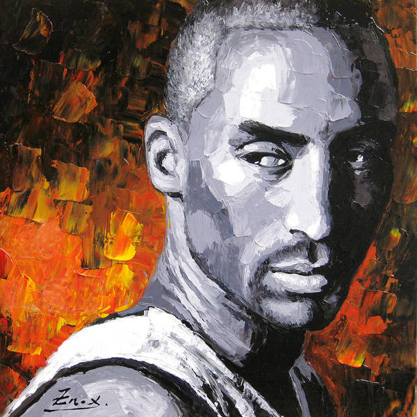 Portrait Print featuring the painting Original Palette Knife Painting Kobe Bryant by Enxu Zhou