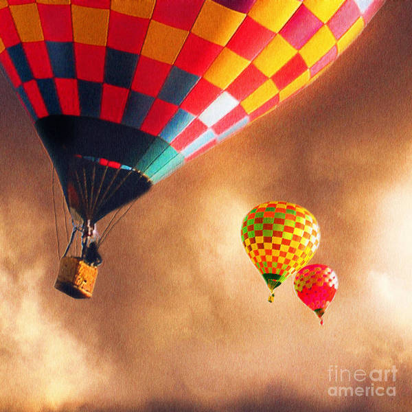 Hot Air Balloons Print featuring the painting Out Of The Storm by Artist and Photographer Laura Wrede