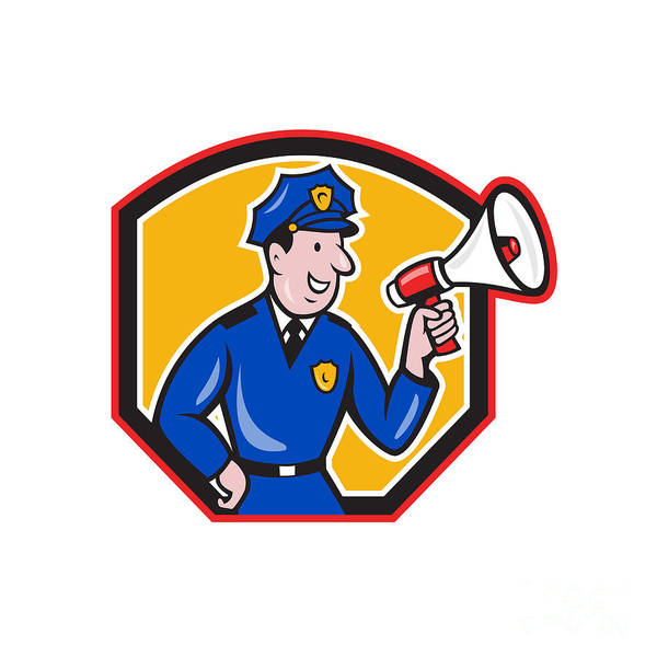 Policeman Print featuring the digital art Policeman Shouting Bullhorn Shield Cartoon by Aloysius Patrimonio