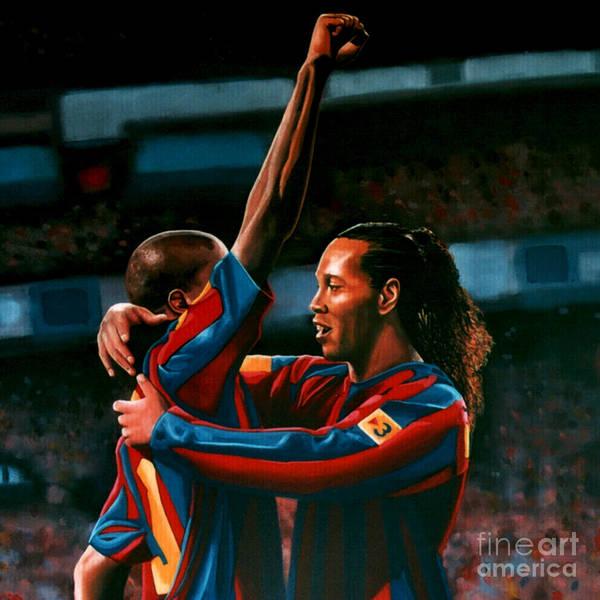 Ronaldinho Print featuring the painting Ronaldinho And Eto'o by Paul Meijering