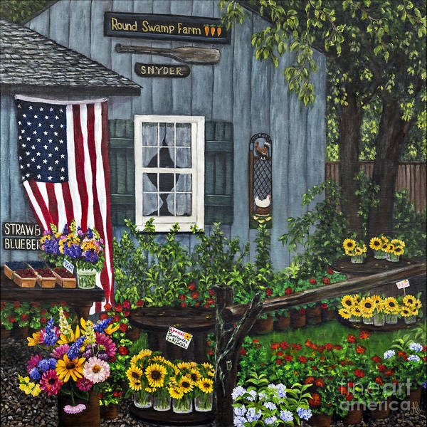 Farm Print featuring the painting Round Swamp Farm By Alison Tave by Sheldon Kralstein