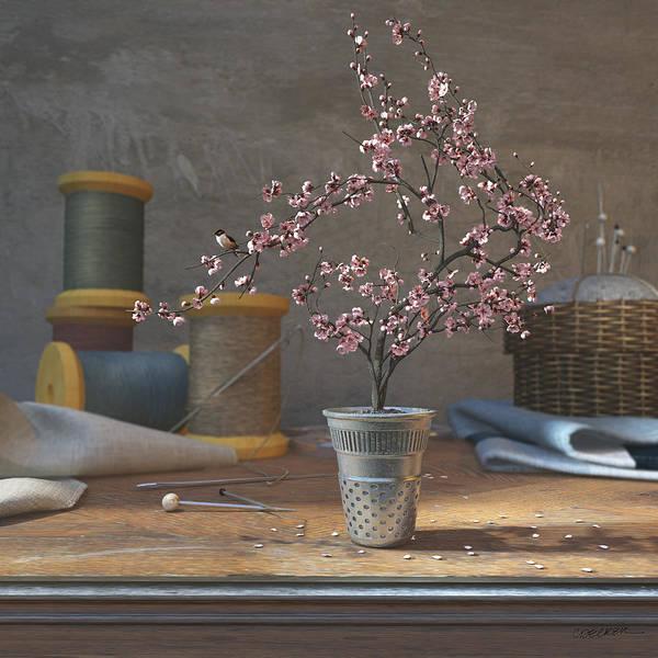 Cherry Blossom Print featuring the digital art Sew Tiny by Cynthia Decker