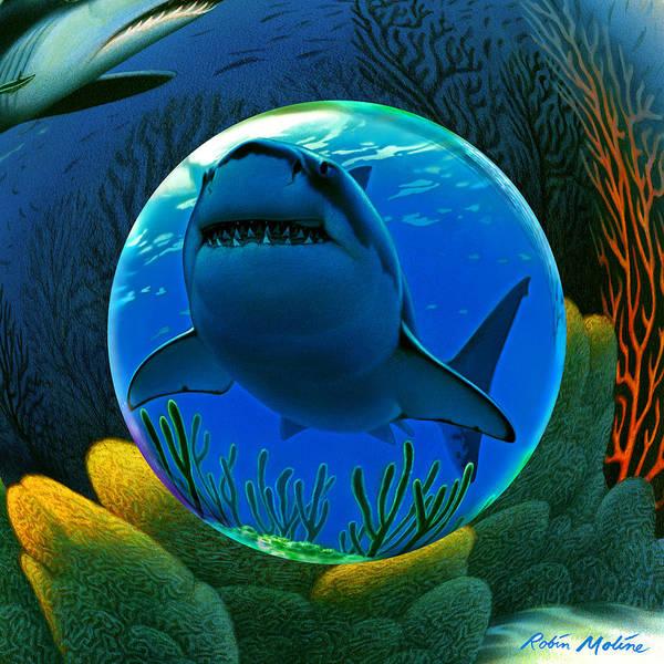 Sharks Print featuring the digital art Shark World by Robin Moline