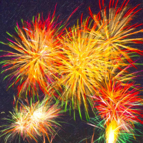 Fireworks Print featuring the digital art Skies Aglow With Fireworks by Mark E Tisdale