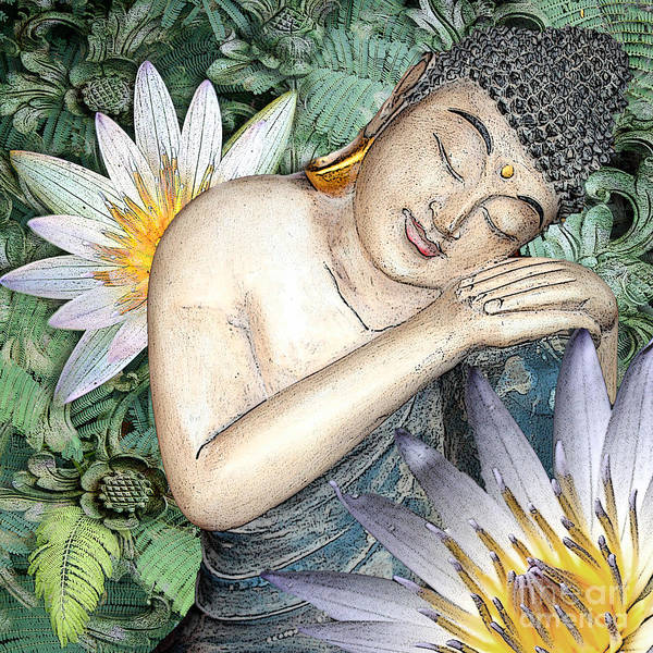 Buddha Print featuring the digital art Spring Serenity by Christopher Beikmann