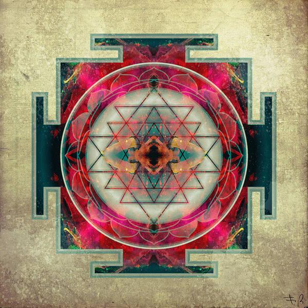 Mandala Print featuring the digital art Sri Yantra by Filippo B
