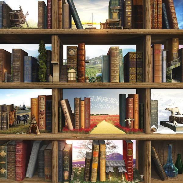 Books Print featuring the digital art Storyworld by Cynthia Decker