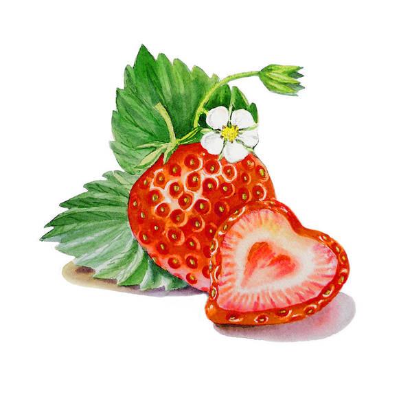 Strawberry Print featuring the painting Strawberry Heart by Irina Sztukowski