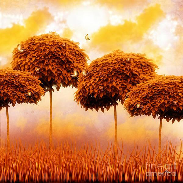 Tangerine Treesand Marmalade Skies Print featuring the painting Tangerine Trees And Marmalade Skies by Mo T