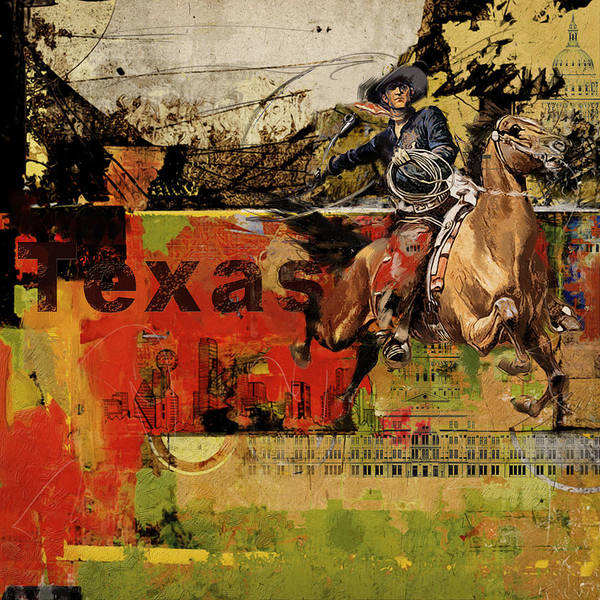 Texas Print featuring the painting Texas Rodeo by Corporate Art Task Force