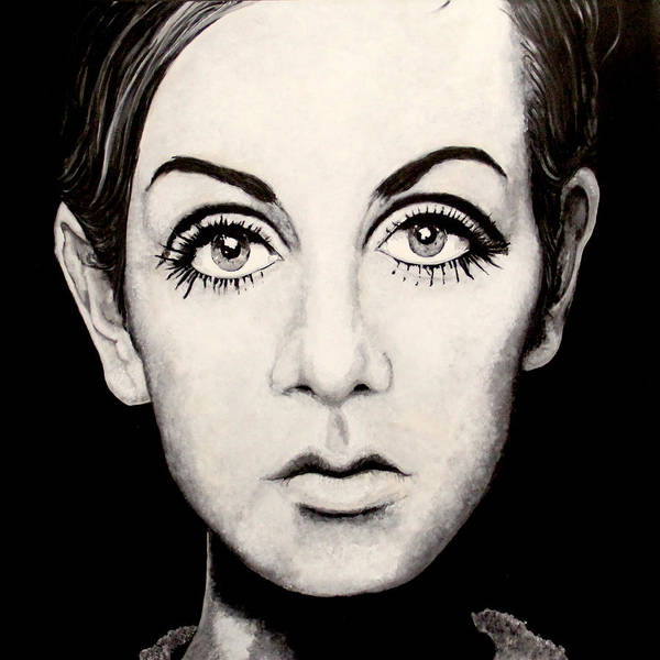 Twiggy Painting Acrylic On Canvass.homage To Photographer Barry Lategan Approx 4x4 Original Artwork. Print featuring the painting Twiggy by Austin Angelozzi