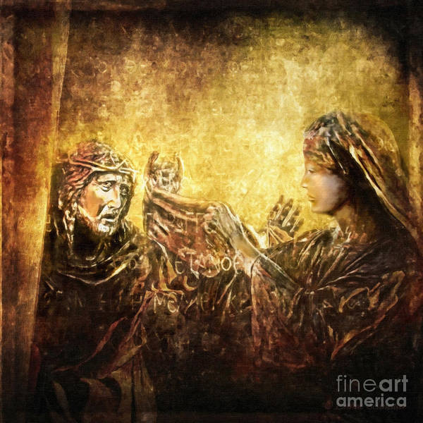 Jesus Print featuring the digital art Veronica Wipes His Face Via Dolorosa 6 by Lianne Schneider