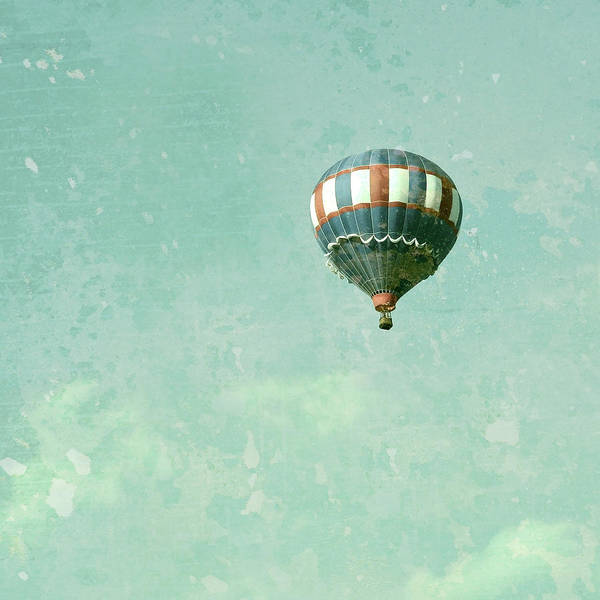 Patriotic Print featuring the photograph Vintage Inspired Hot Air Balloon In Red White And Blue by Brooke Ryan