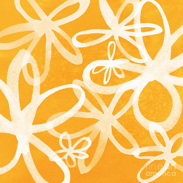 Large Abstract Floral Painting Print featuring the painting Waterflowers- Orange And White by Linda Woods