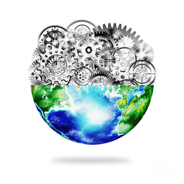 Art Print featuring the photograph Globe With Cogs And Gears by Setsiri Silapasuwanchai