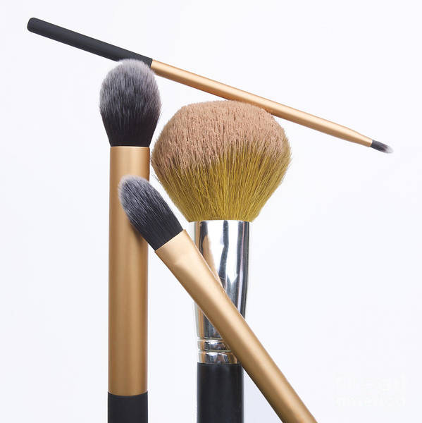 Square Print featuring the photograph Powder And Make-up Brushes by Bernard Jaubert