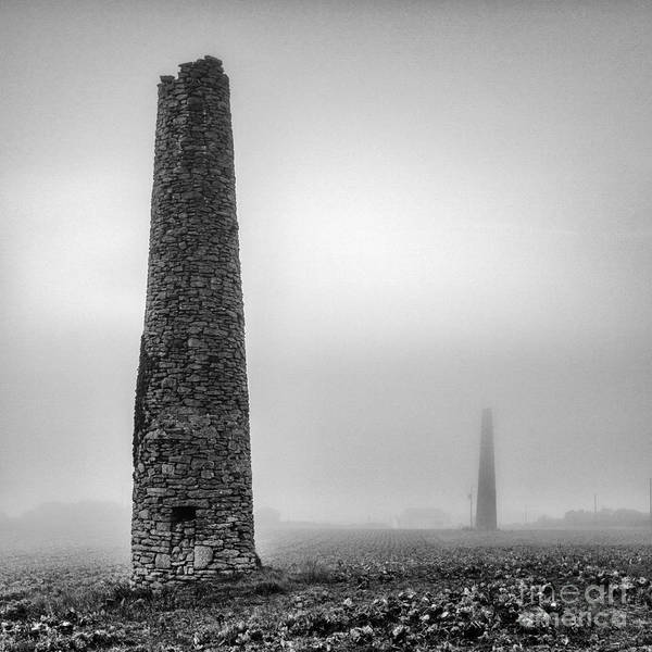 Black And White Print featuring the photograph A Twin Cornish Mine Chimneys by John Farnan