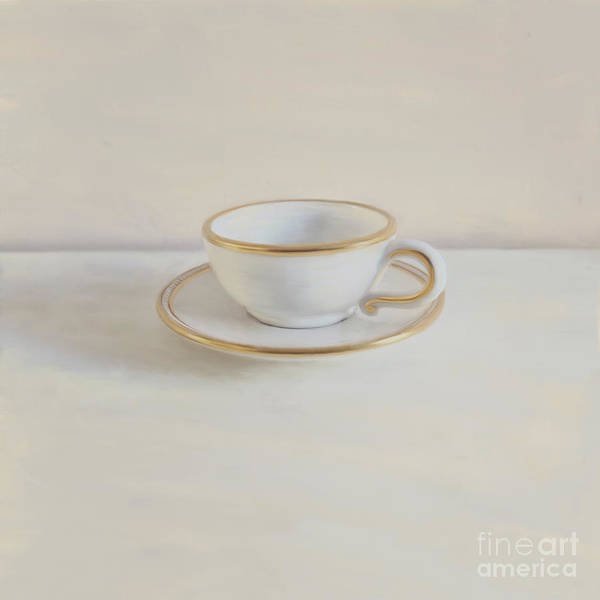 Gilt Cup Print featuring the photograph Gilt Cup On White Marble by Paul Grand