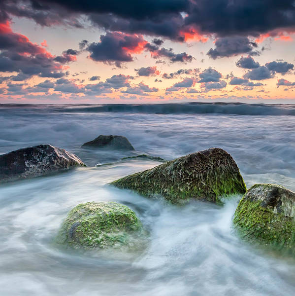 Black Sea Print featuring the photograph Green Stones by Evgeni Dinev