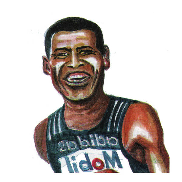 Portraits Print featuring the painting Haile Gebreselassie by Emmanuel Baliyanga