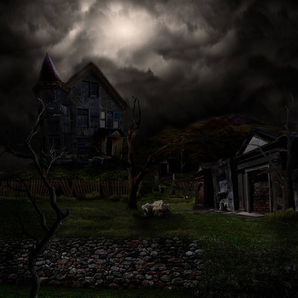 House Print featuring the digital art Haunted House by Lisa Evans